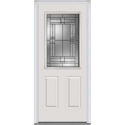 32 in. x 80 in. Roman Right-Hand Inswing 1/2-Lite Decorative 2-Panel Primed Fiberglass Smooth Prehung Front Door