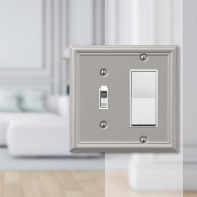 Ascher 2 Gang 1-Toggle and 1-Rocker Steel Wall Plate - Brushed Nickel