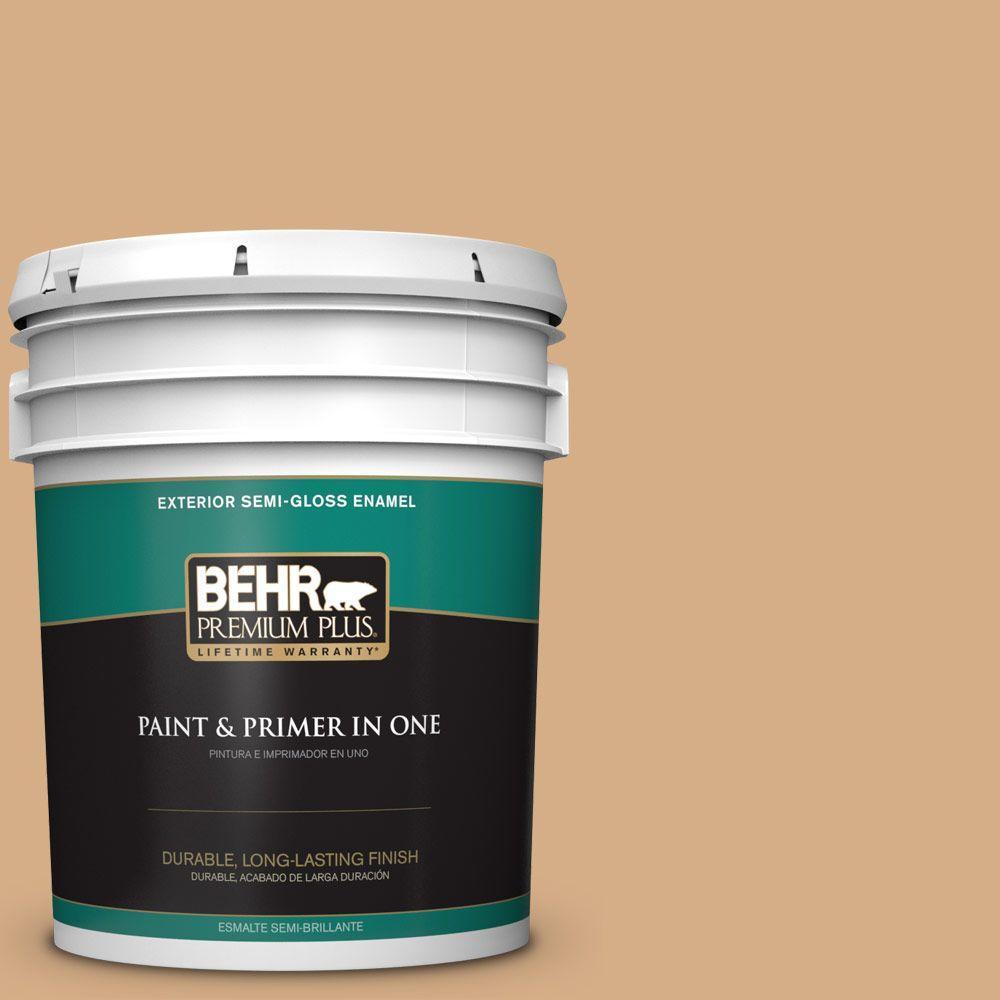 5-gal. #BXC-67 Santa Fe Tan Semi-Gloss Enamel Exterior Paint