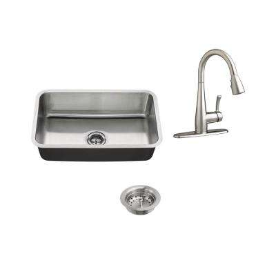 All-in-One Undermount Stainless Steel 30 in. Single Bowl Kitchen Sink with Faucet in Stainless Steel