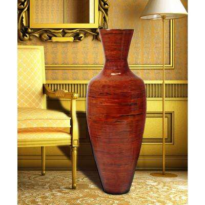37.5 in. Reds and Pinks Tall Bamboo Floor Decorative Vase