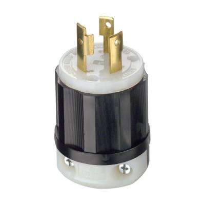 30 Amp 250-Volt Locking Grounding Plug, Black/White