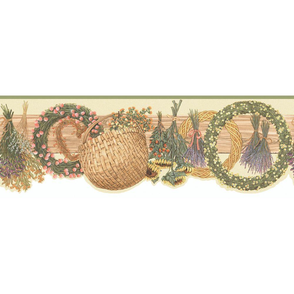 The Wallpaper Company 8 in. x 10 in. Green and Beige Floral Baskets Border Sample