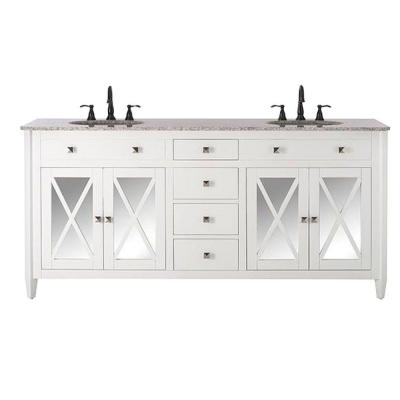 Barcelona 73 in. W x 22 in. D Double Bath Vanity in White with Granite Vanity Top in Grey and White Sink