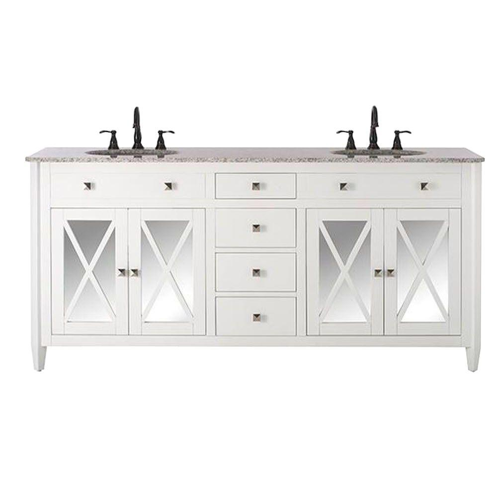 D Double Bath Vanity In White With Granite Top Grey And Basin 13212 Vs73h Wt The Home Depot