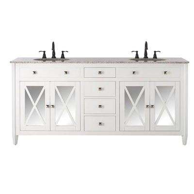 Barcelona 73 in. W x 22 in. D Double Bath Vanity in White with Granite Vanity Top in Grey and White Basin