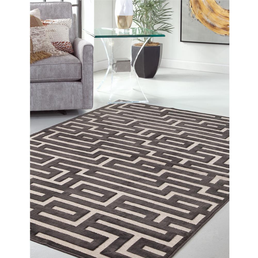 Sams International Napa Maze Charcoal 5 Ft 3 In X 7 Ft