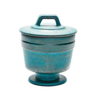 11 in. Metallic Patina Earthenware Decorative Vase in Copper and Blue