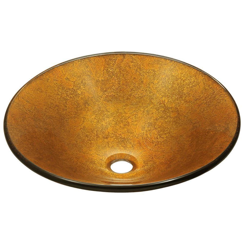 Mr Direct Glass Vessel Sink In Golden Bronze Foil