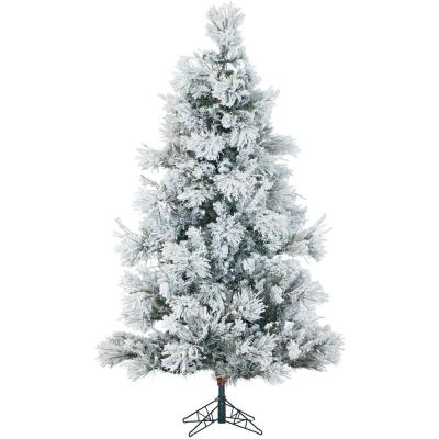 6.5 ft. Pre-lit LED Flocked Snowy Pine Artificial Christmas Tree with 450 Multi-Color String Lights