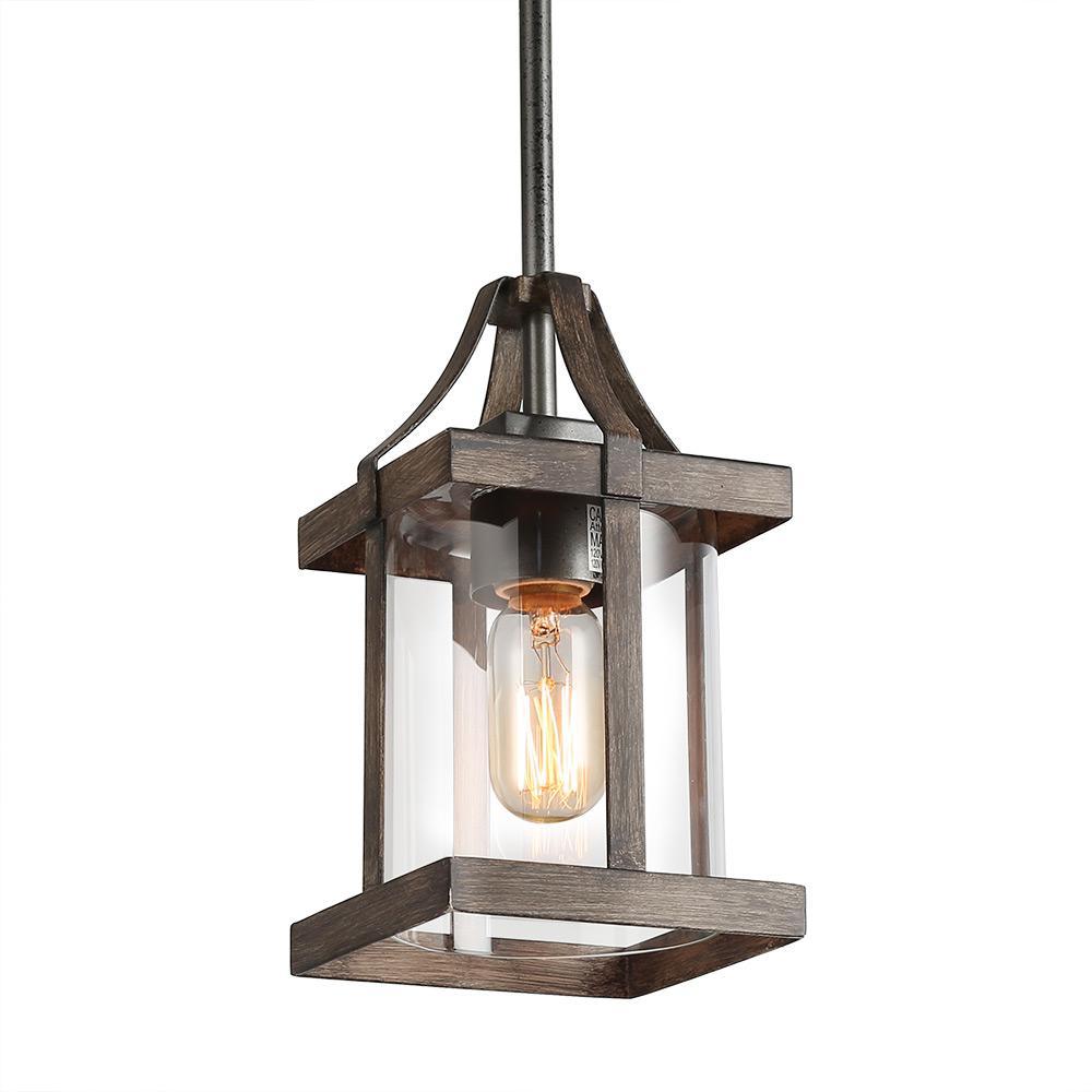 LNC 1-Light Dark Gray Faux Wood Rustic Mini Pendant-A03408