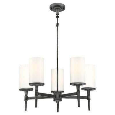 Courtfield 5-Light Distressed Aluminum Chandelier with White Opal Glass Shades