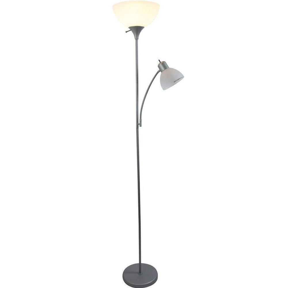 Silver Mother/Daughter Floor Lamp with Reading Light