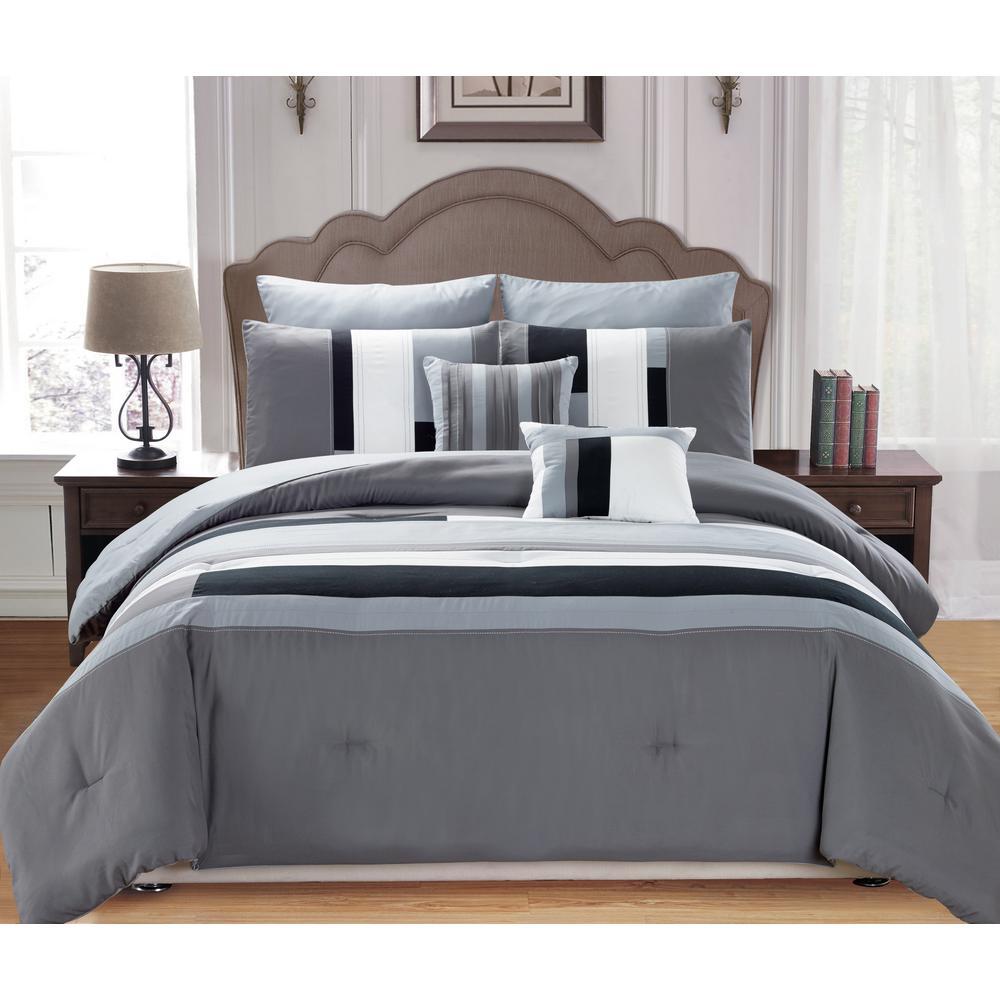 Kensie Desiree 7-Piece Silver Queen Comforter Set