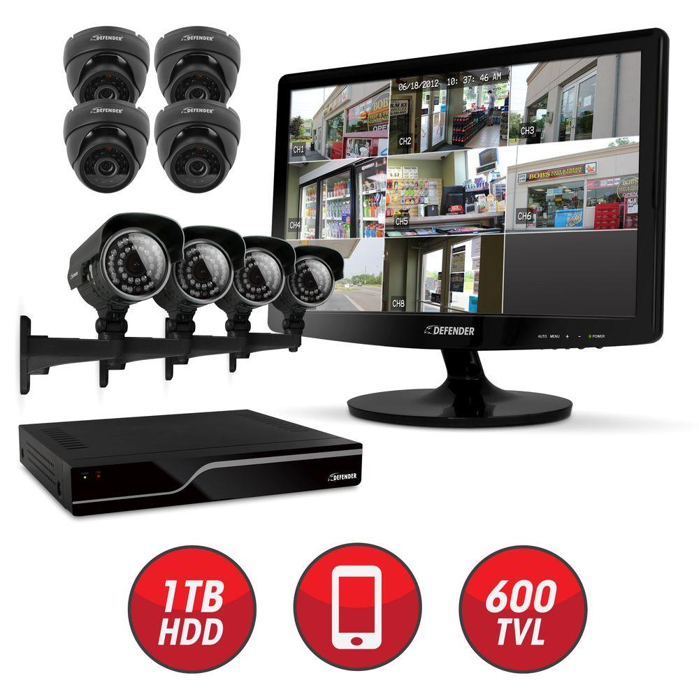 Defender Connected 8-CH Smart Security DVR with (8) Ultra Hi-res I/O Surveillance Cameras and 19 in. LED Monitor-DISCONTINUED