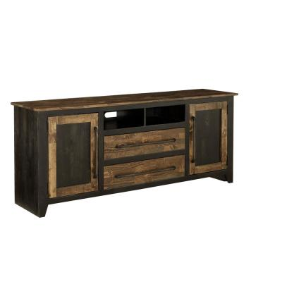 Renegade 68 in. Black and Honey Wood TV Stand with 2 Drawer Fits TVs Up to 75 in. with Storage Doors