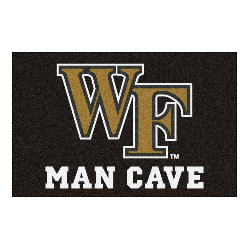 Fanmats Ncaa Wake Forest University Black Man Cave 2 Ft X