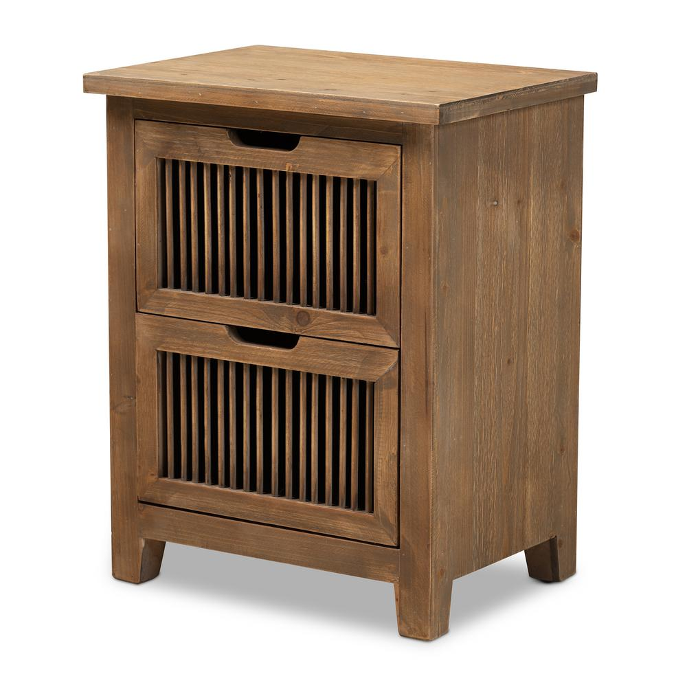 Clement Brown Nightstand 24.02 in. H X 18.9 in. W X 13.39 in. D (2-Drawer)