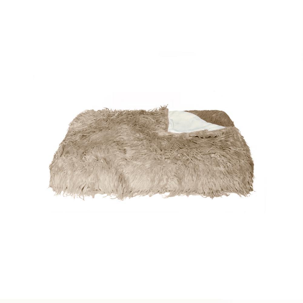 Plano Tan 50 in. x 70 in. Mongolian Sheepskin Faux Fur Indoor Throw