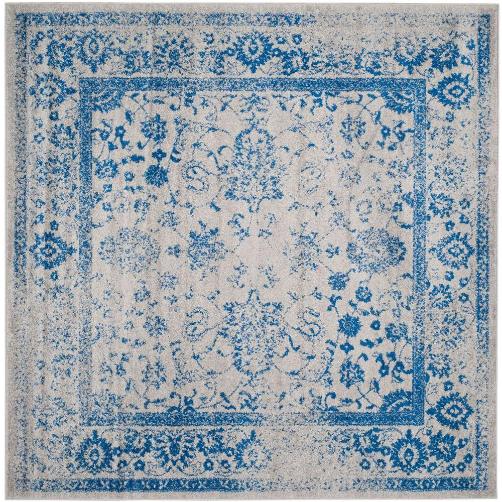 Adirondack Grey/Blue 8 ft. x 8 ft. Square Area Rug