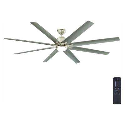Kensgrove 72 in  Integrated LED Indoor/Outdoor Brushed Nickel Ceiling Fan  with Light Kit and Remote Control