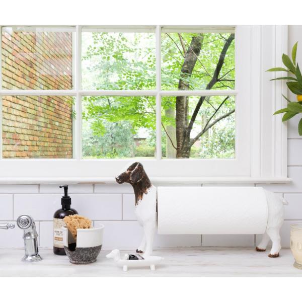 3r Studios Freestanding White Goat Shaped Paper Towel Holder Ec0241 The Home Depot