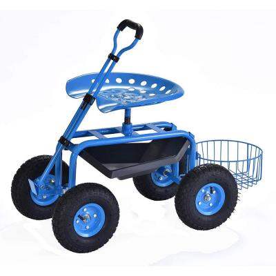 Deluxe Rolling Garden Cart with Tool Tray