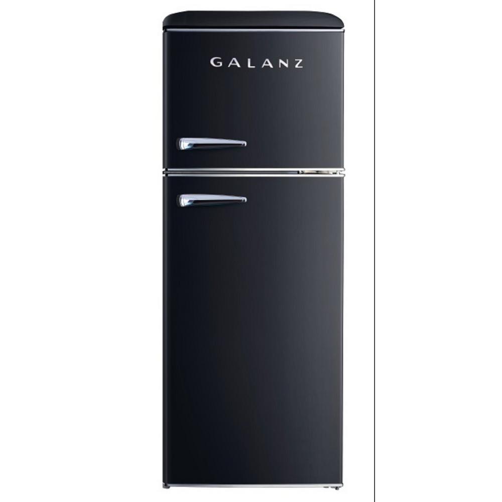 10.0 cu. ft. Retro Top Freezer Refrigerator with Dual Door True Freezer, Frost Free in Black