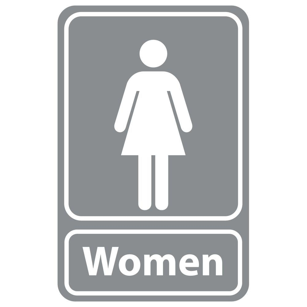 5 5 in  x 8 5 in  Plastic Grey Women Restroom Sign