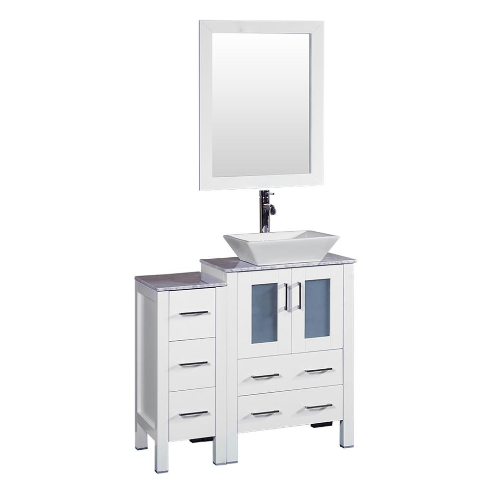 36 in. W Single Bath Vanity in White with Carrara Marble