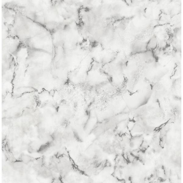 56.4 sq. ft. Notting Hill Light Grey Marble Wallpaper