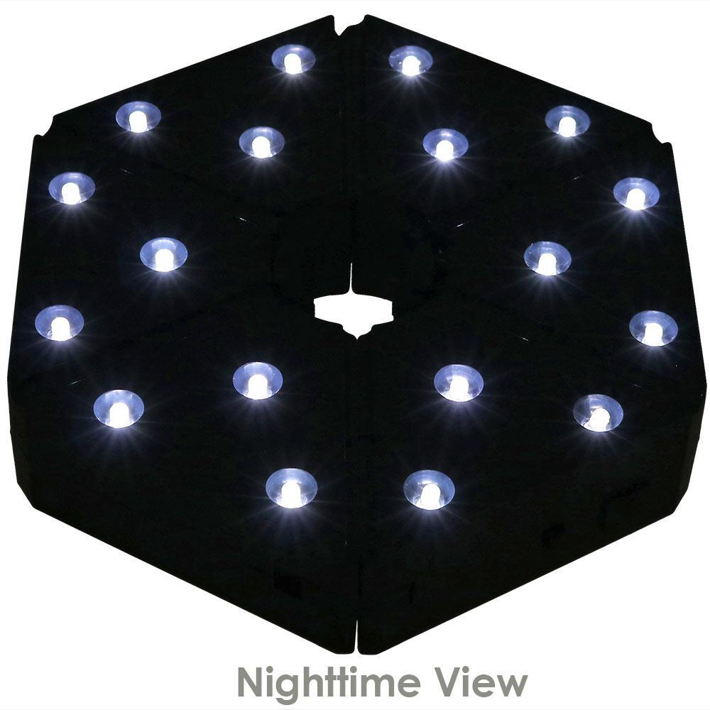 Outdoor Patio Umbrella Lights Cordless 18 Led Battery Operated Light In Black