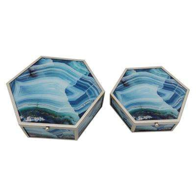 2.75 in. Blue Metal Framed Boxes (Set of 2)