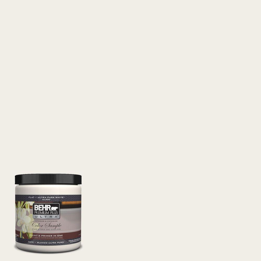 BEHR Premium Plus Ultra 8 oz. #UL200-12 Snowy Pine Matte Interior/Exterior Paint and Primer in One Sample