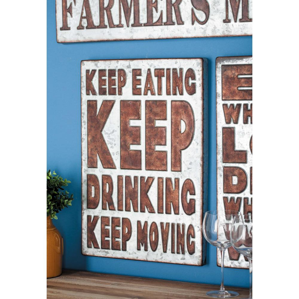 "14 in. x 21 in. Pop Arts ""Keep Eating"" Brown Metal"
