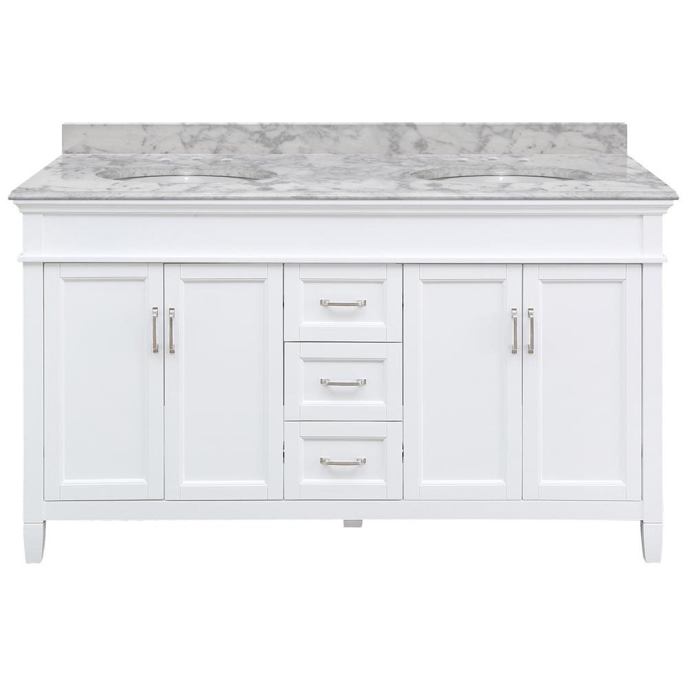 Home Decorators Collection Ashburn 61 in. W x 22 in. D Bath Vanity in White with Marble Vanity Top in Carrara with White Oval Sink was $2099.0 now $1259.4 (40.0% off)