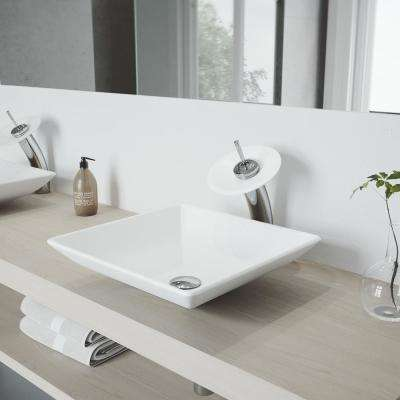 Hibiscus Vessel Sink in White Matte Stone with Waterfall Faucet in Chrome and Pop-Up Drain Included