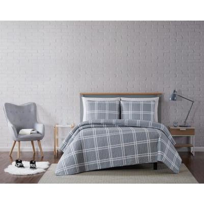 Leon Plaid Grey Full/Queen 3-Piece Quilt Set