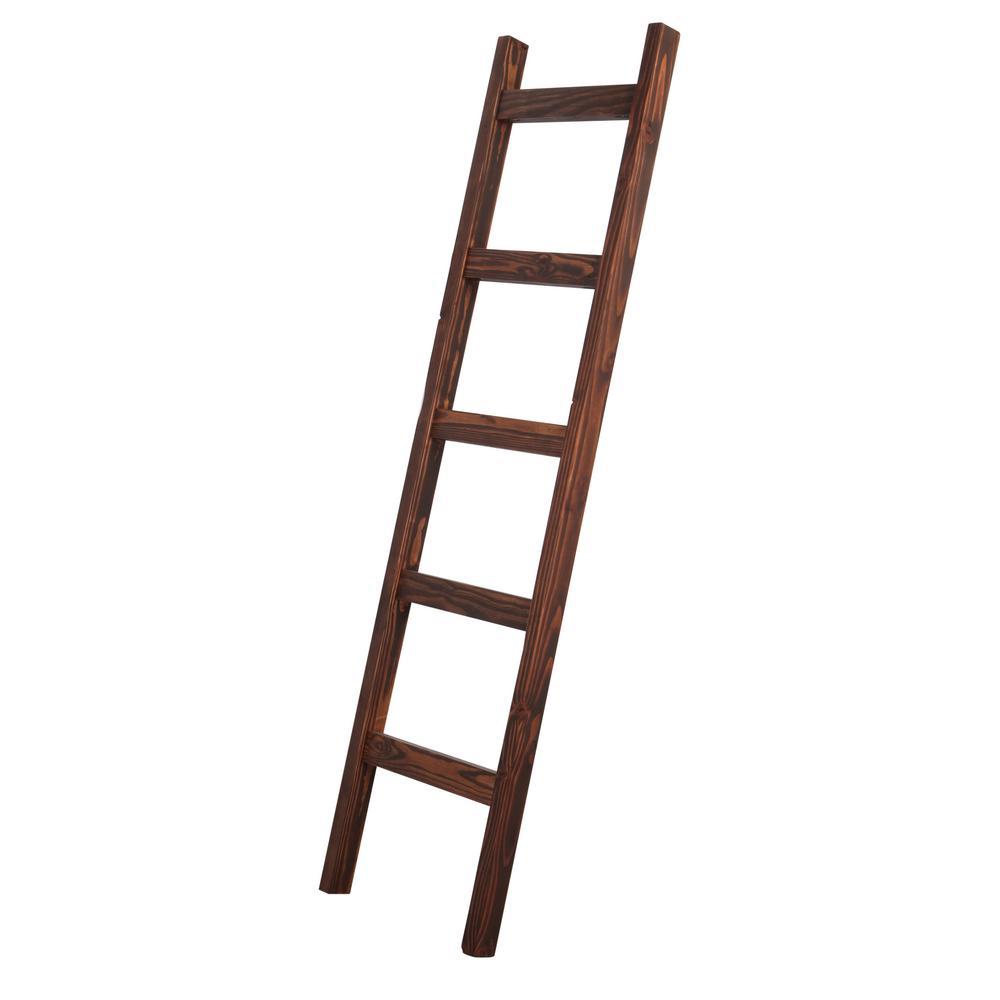 72 in. Dark Walnut Wood 5-shelf Ladder Bookcase with Open Back
