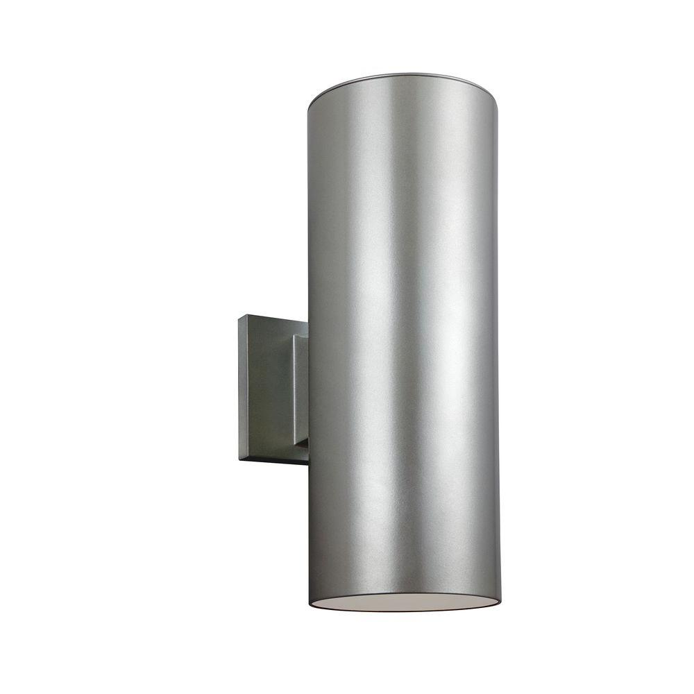 Sea Gull Lighting Outdoor Cylinder Collection 2-Light Painted Brushed Nickel Outdoor Wall Lantern Sconce