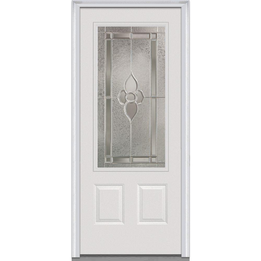 Milliken Millwork 36 in. x 80 in. Master Nouveau Decorative Glass 3/4 Lite 2-Panel Primed White Fiberglass Smooth Prehung Front Door