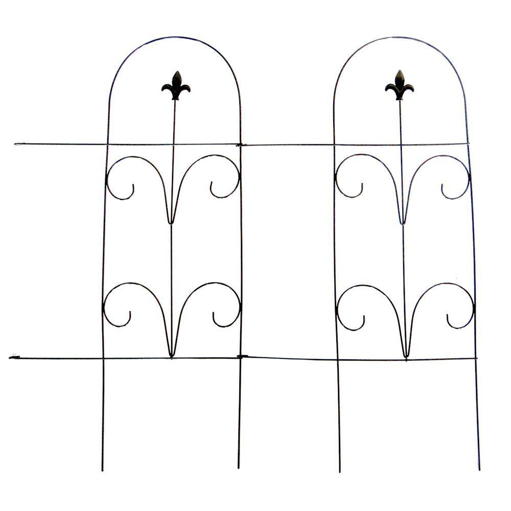Vigoro 32 in. Romantic Folding Garden Fence-51505 - The Home Depot