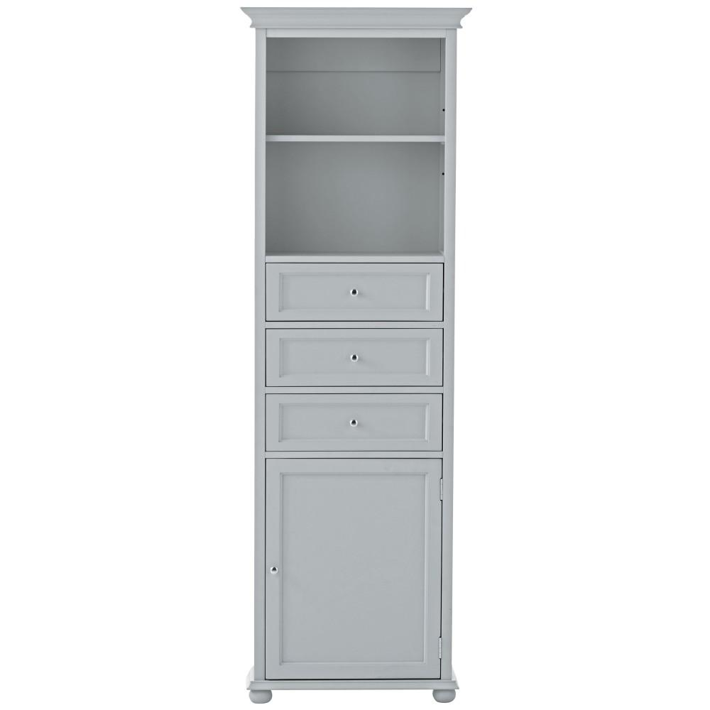 Home Decorators Collection Hampton Harbor 22 in. W x 10 in. D x 67-1/2 in. H Linen Storage Cabinet in Dove Grey