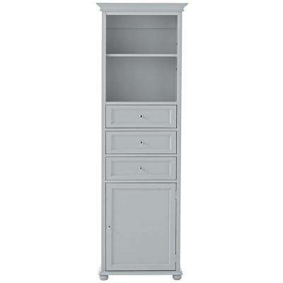 Hampton Harbor 22 in. W x 10 in. D x 67-1/2 in. H Linen Storage Cabinet in Dove Grey