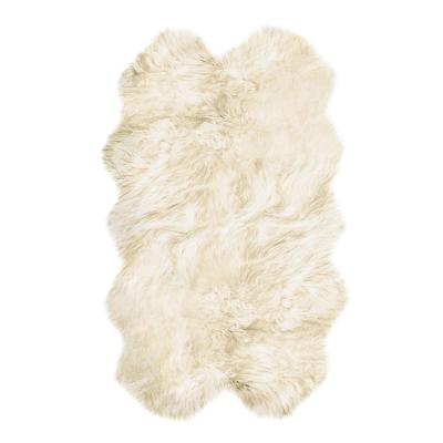 New Zealand Natural 4 ft. x 6 ft. Four Sheepskin Area Rug