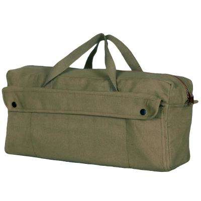 19 in. Jumbo Mechanic's Canvas Tool Bag with 2-Pockets in Olive Drab