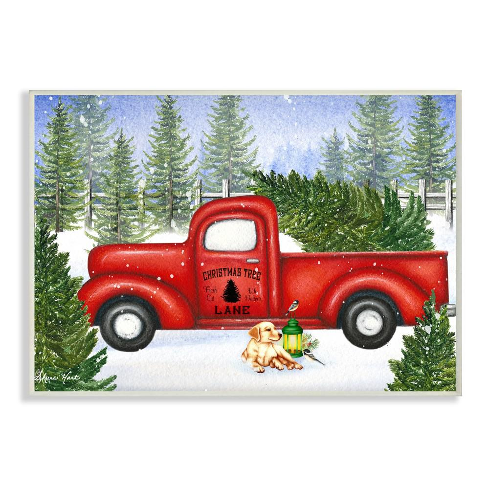 Old Truck With Christmas Tree.12 5 In X 18 5 In Christmas Tree Lane Red Pickup Truck With Dog And Lantern By Artist Sheri Hart Wood Wall Art