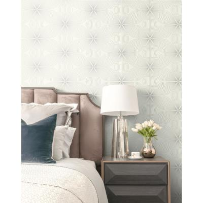 Lucy Metallic Silver and White Starburst Wallpaper