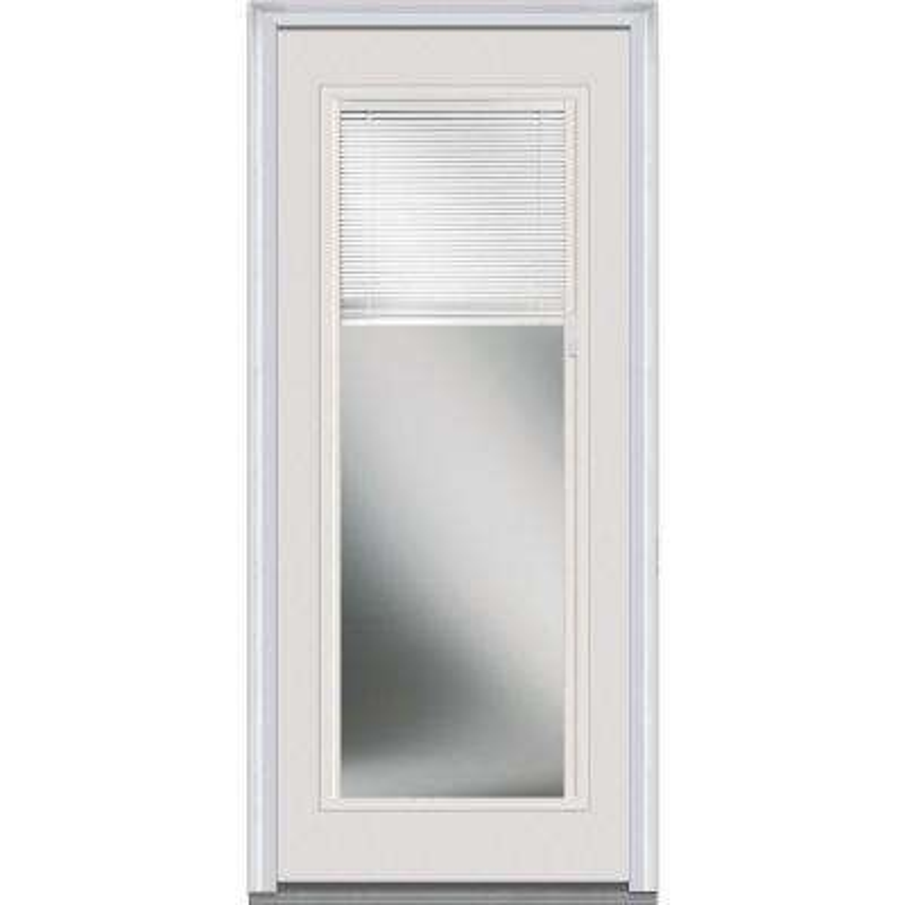 32 in. x 80 in. RLB Low-E Left-Hand Full Lite Classic Primed Fiberglass Smooth Prehung Front Door