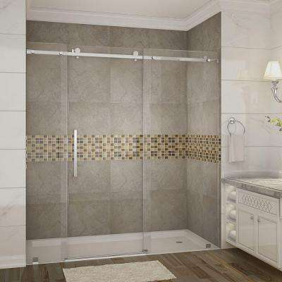 Moselle 72 in. x 75 in. Completely Frameless Sliding Shower Door in Stainless Steel
